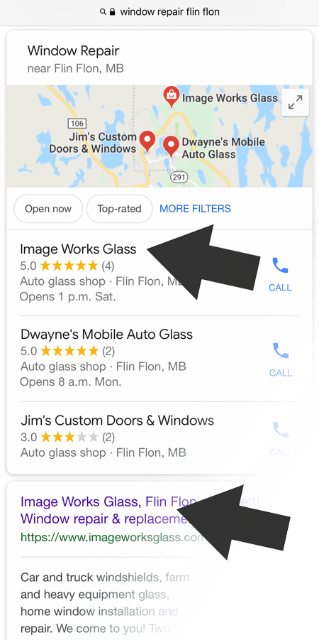 a business appears higher than competition in google maps