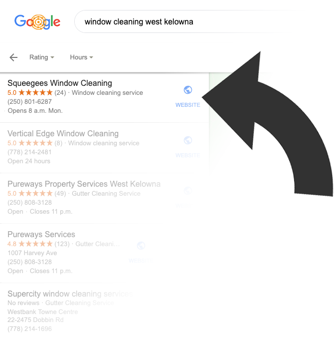 SEO optimized business showing up in first spot in Google maps search